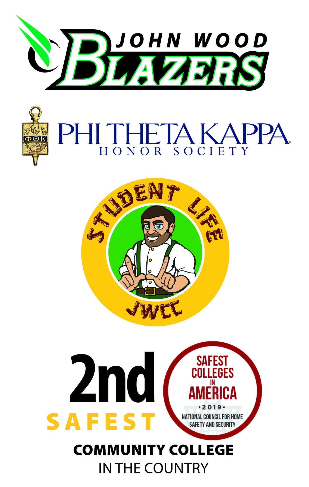 Blazers logo-PTK logo-Student Life-2nd safest community college in the country.