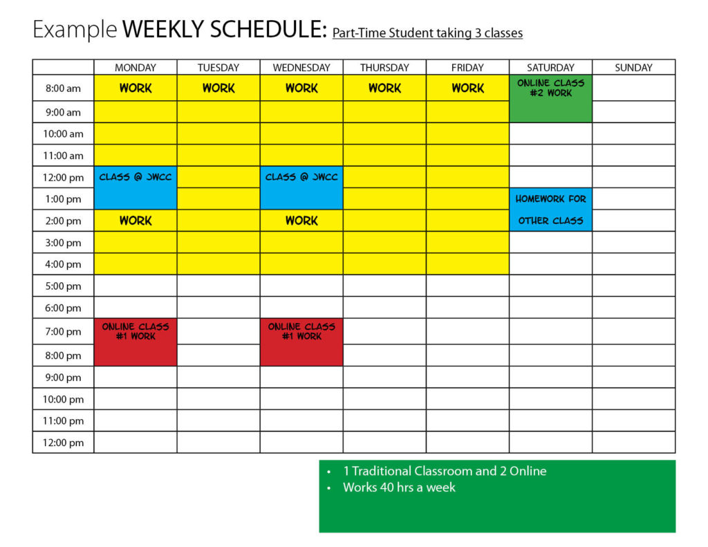 Part-time student taking 3 classes schedule