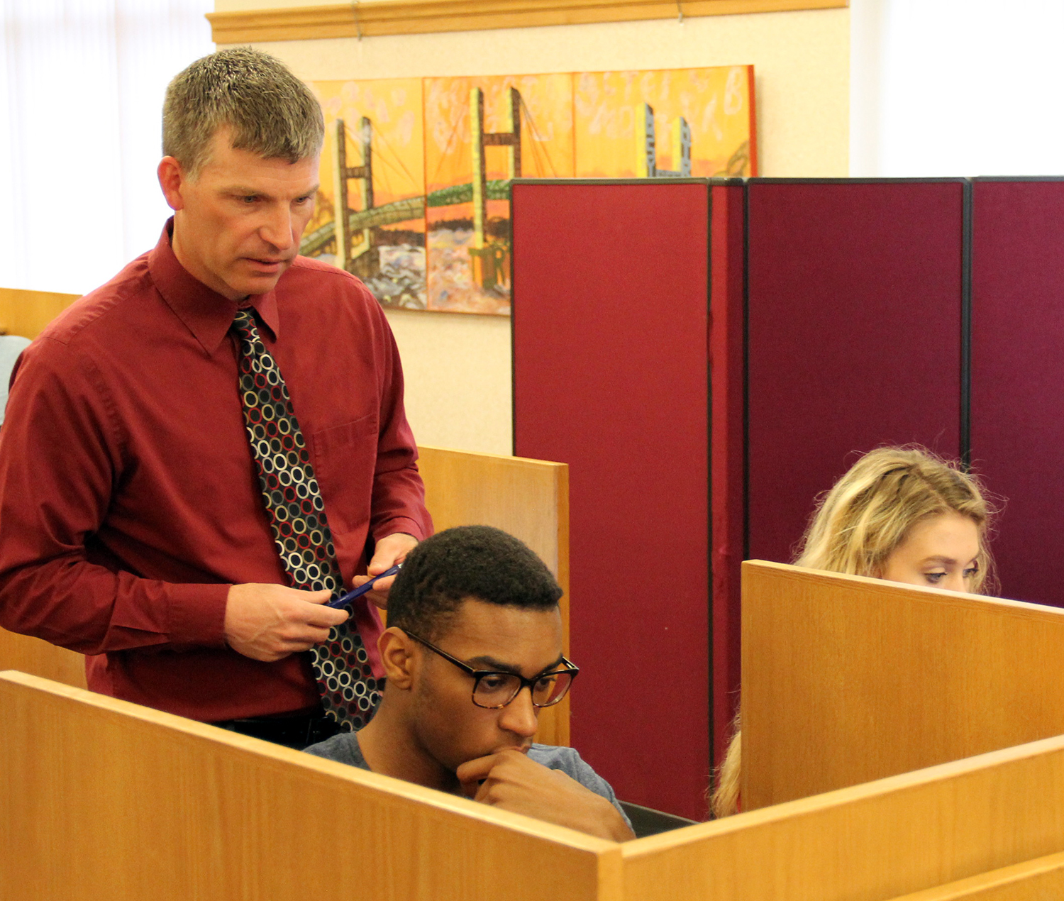 Faculty helping students