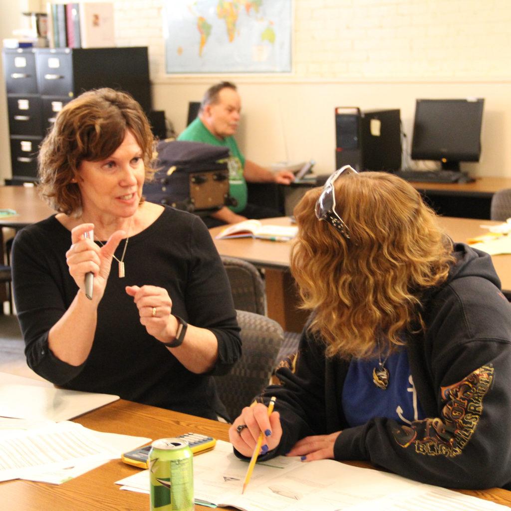 Monica Foster instructing student