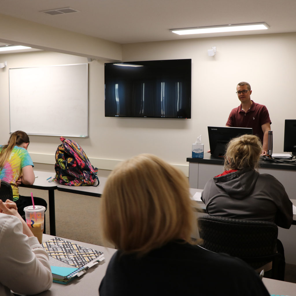 Professor teaches students at the Southeast Education Center
