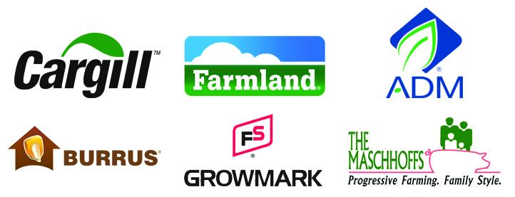 Logos for Cargill, Farmland, ADM, Burrus, Growmark and The Maschhoffs