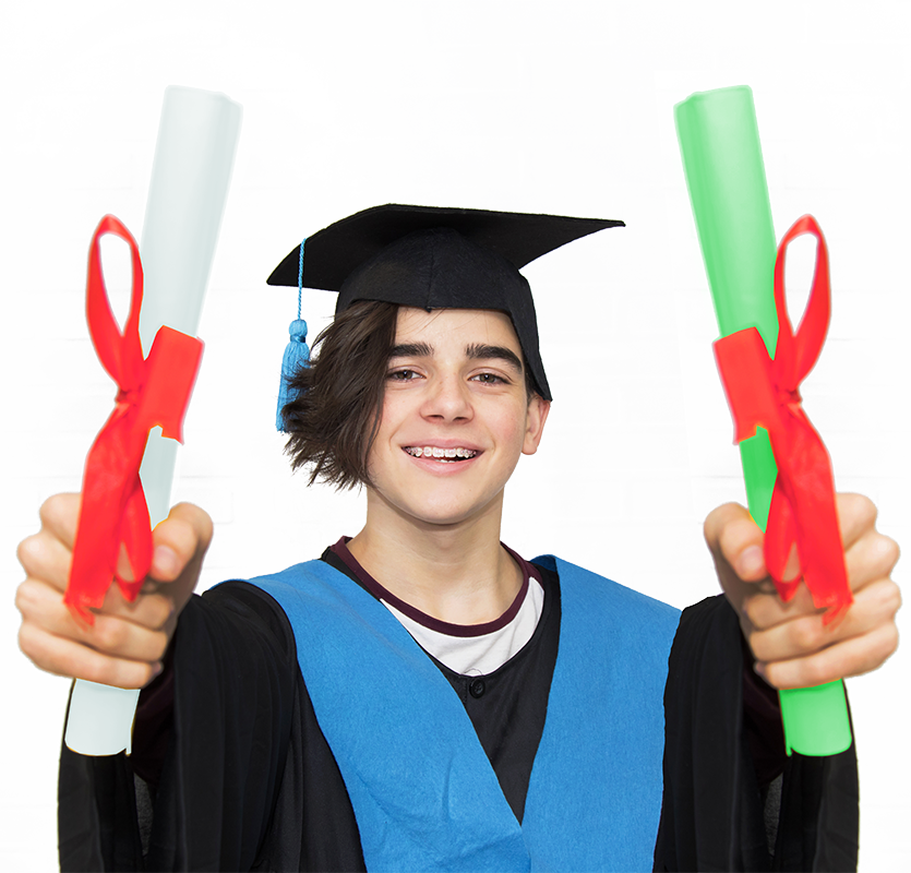 Student with two diplomas