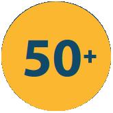 50+ in yellow circle