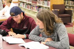 Two students study together in JWCC's library