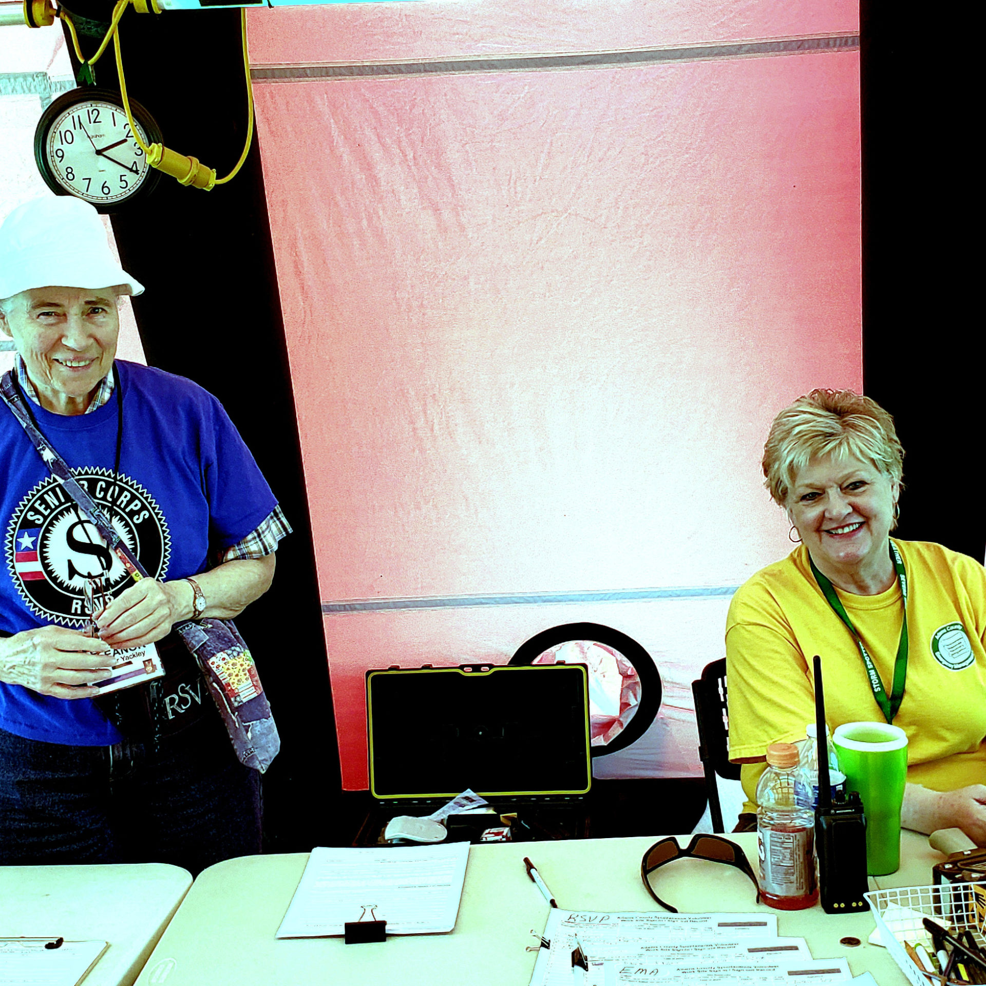 Eleanor Yackley and Kathie Clark manning a booth