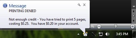 Print Denied Notification
