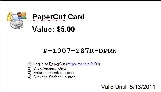 PaperCut Print Card