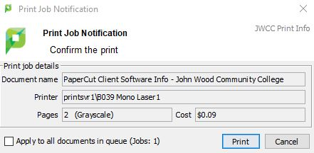 Print Notification Popup