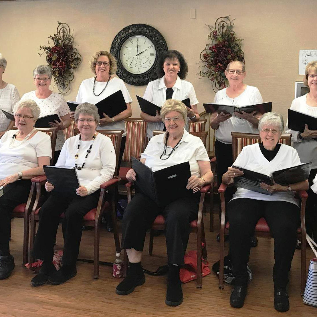 RSVP members sing at the Sunset Retirement Home