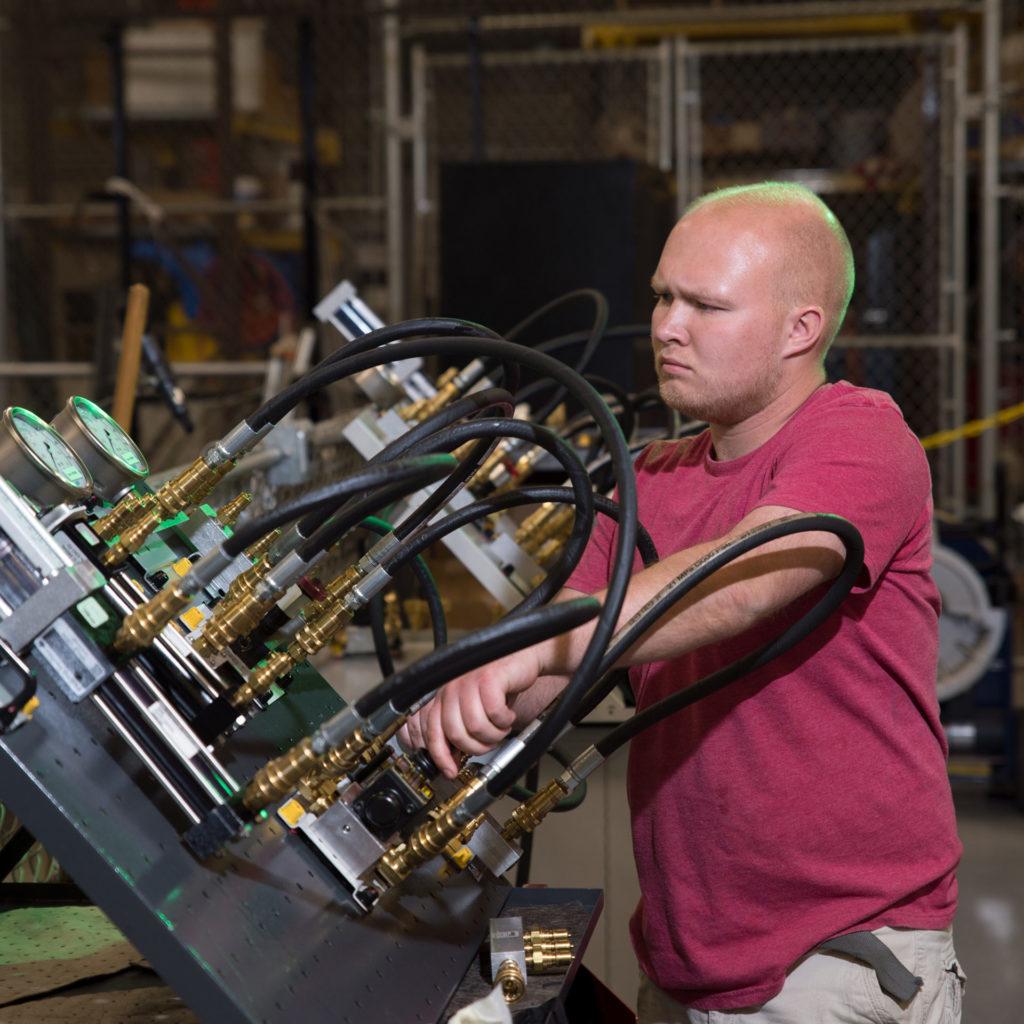 Man working machinery