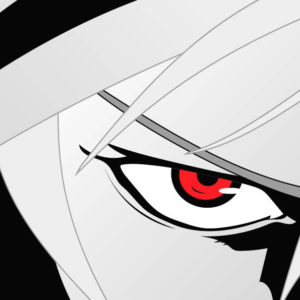 An anime character stares coldly with red eyes
