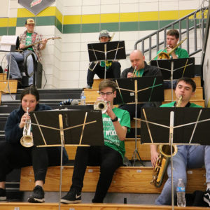 Pep Band plays in the stands of a JWCC basketball game