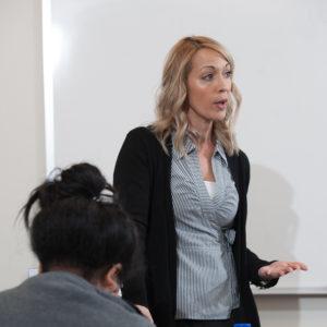 Beth Reinhardt teaches her psychology class