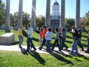 Upward Bound students touring a campus