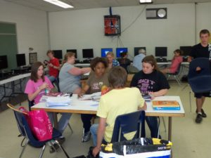 Students working around a table