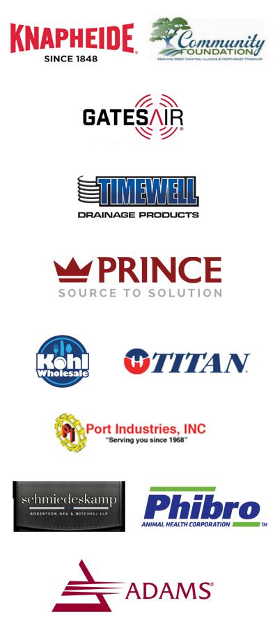 Logos of businesses that use JWCC's workforce training programs, including Knapheide, Gates Air, Prince, Kohl Wholesale, Titan, Phibro and Adams Networks.
