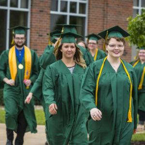 JWCC adult students lining up at graduation