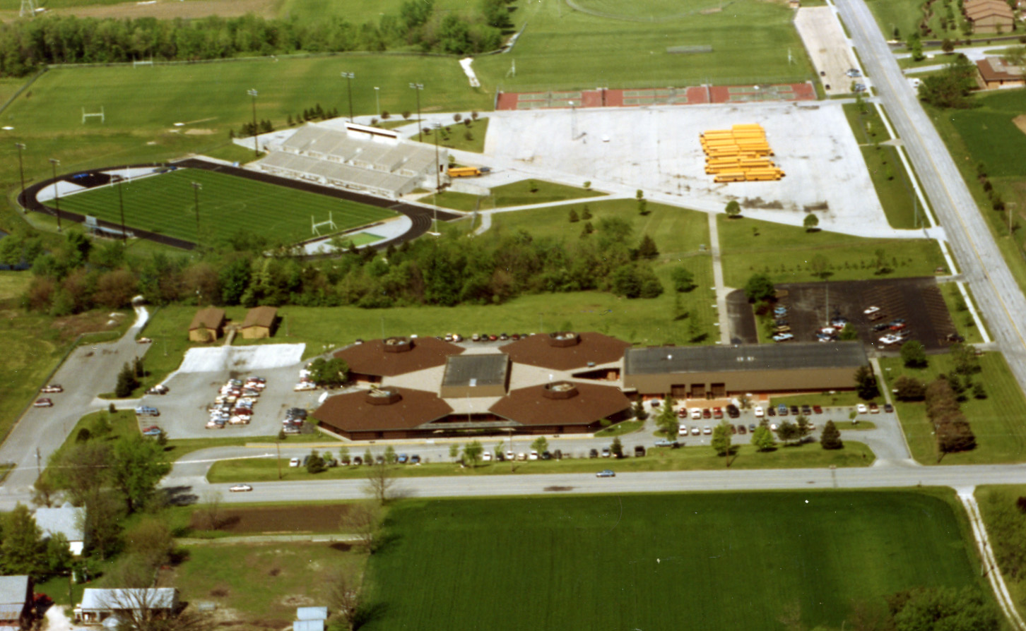 An aerial view of the old campus.
